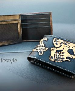 BILLETERA BLACK LEATHER CALAVERA