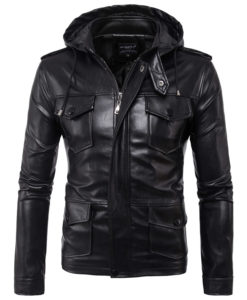 CHAMARRA DE PIEL ARTIFICIAL LEATHER HOODIE 1