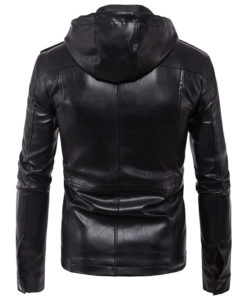 CHAMARRA DE PIEL ARTIFICIAL LEATHER HOODIE 2