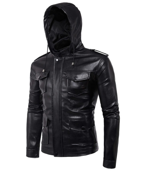 CHAMARRA DE PIEL ARTIFICIAL LEATHER HOODIE 3