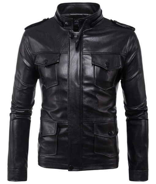 CHAMARRA DE PIEL ARTIFICIAL LEATHER HOODIE 4